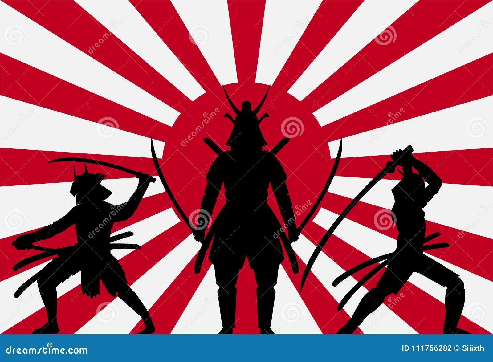 samoura s de silhouette sur le drapeau du japon de soleil. Black Bedroom Furniture Sets. Home Design Ideas