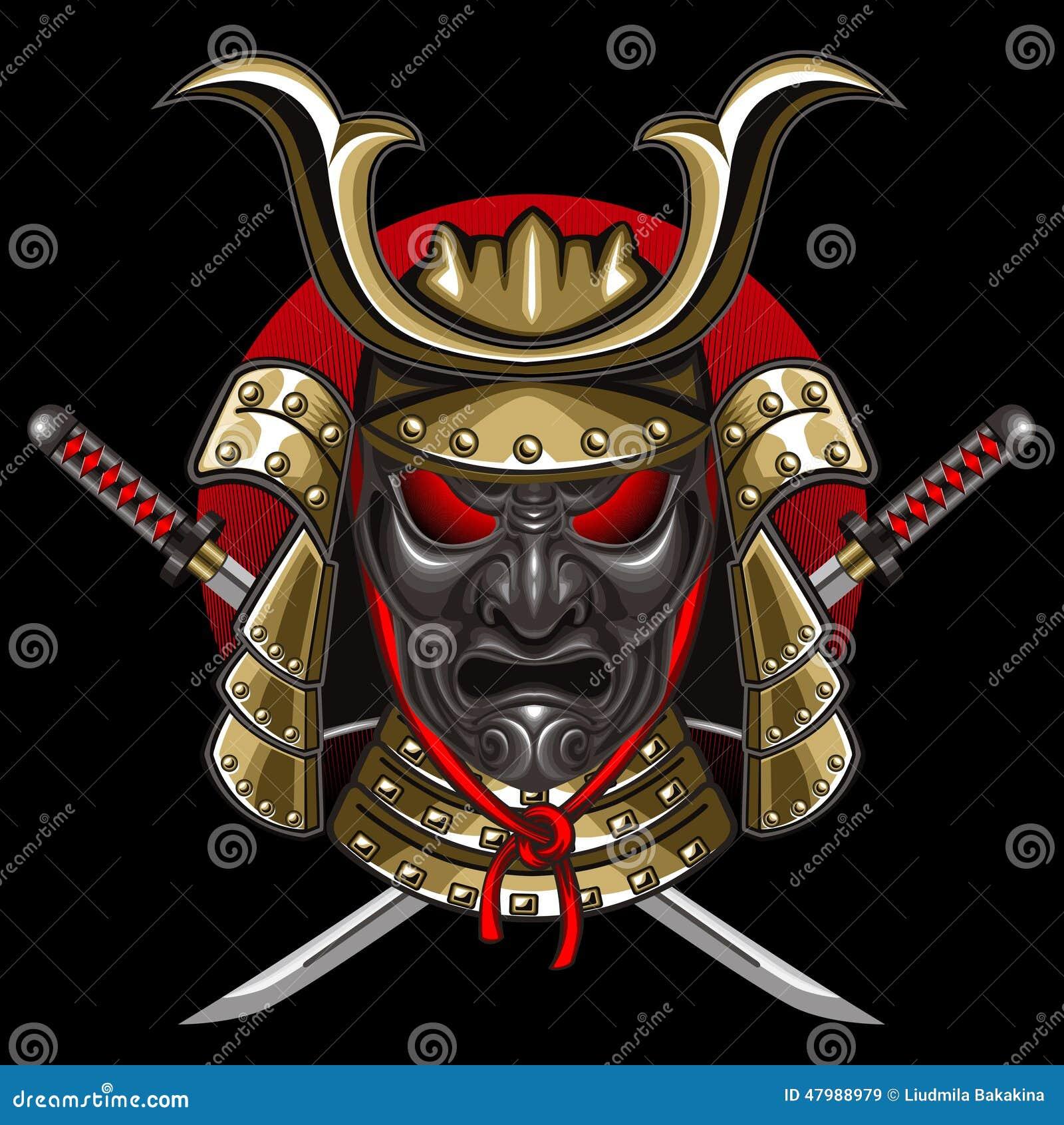 Samoura 239 s de masque avec le katana illustration de vecteur image