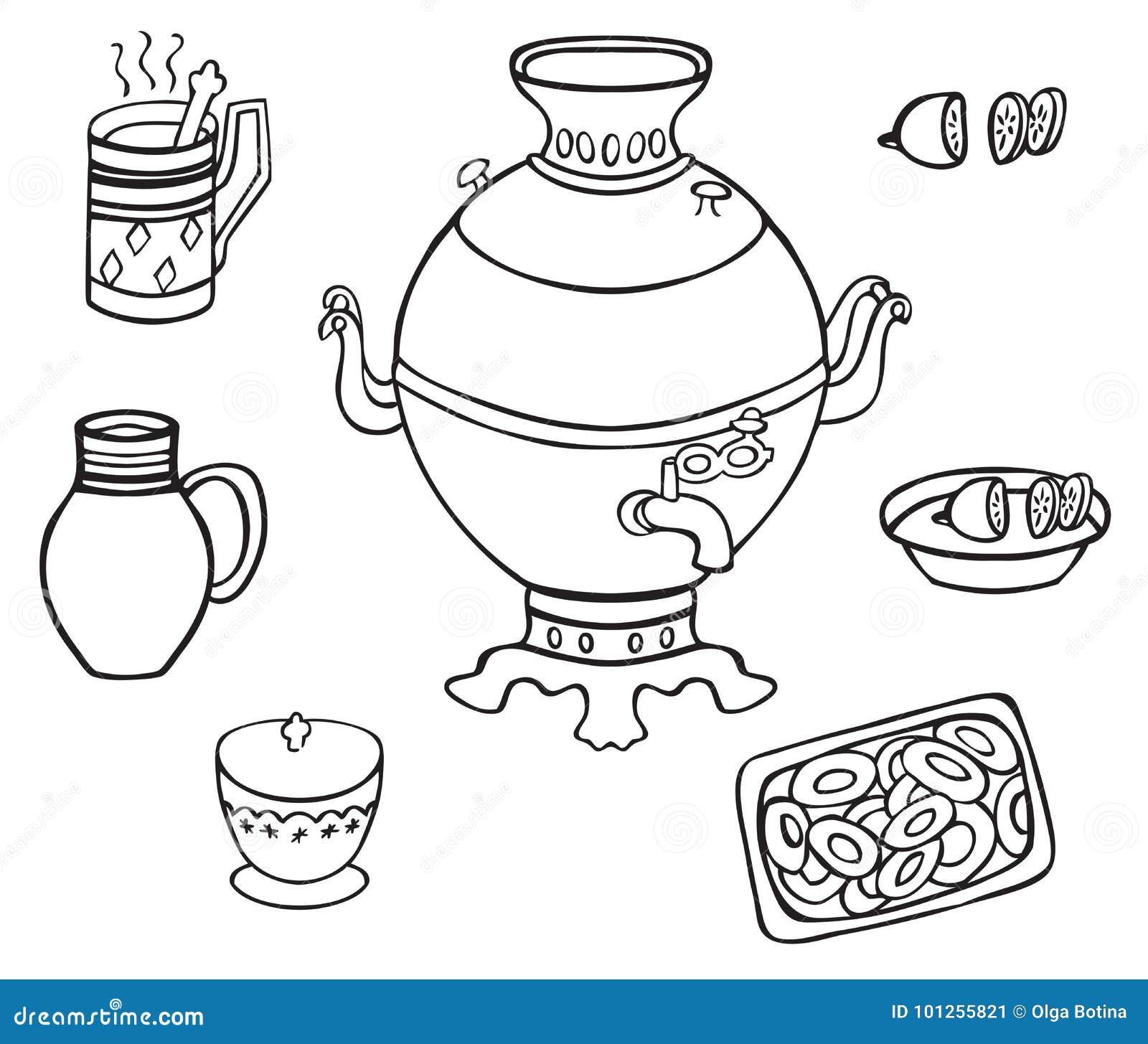 Samowar z herbatą i cytryną