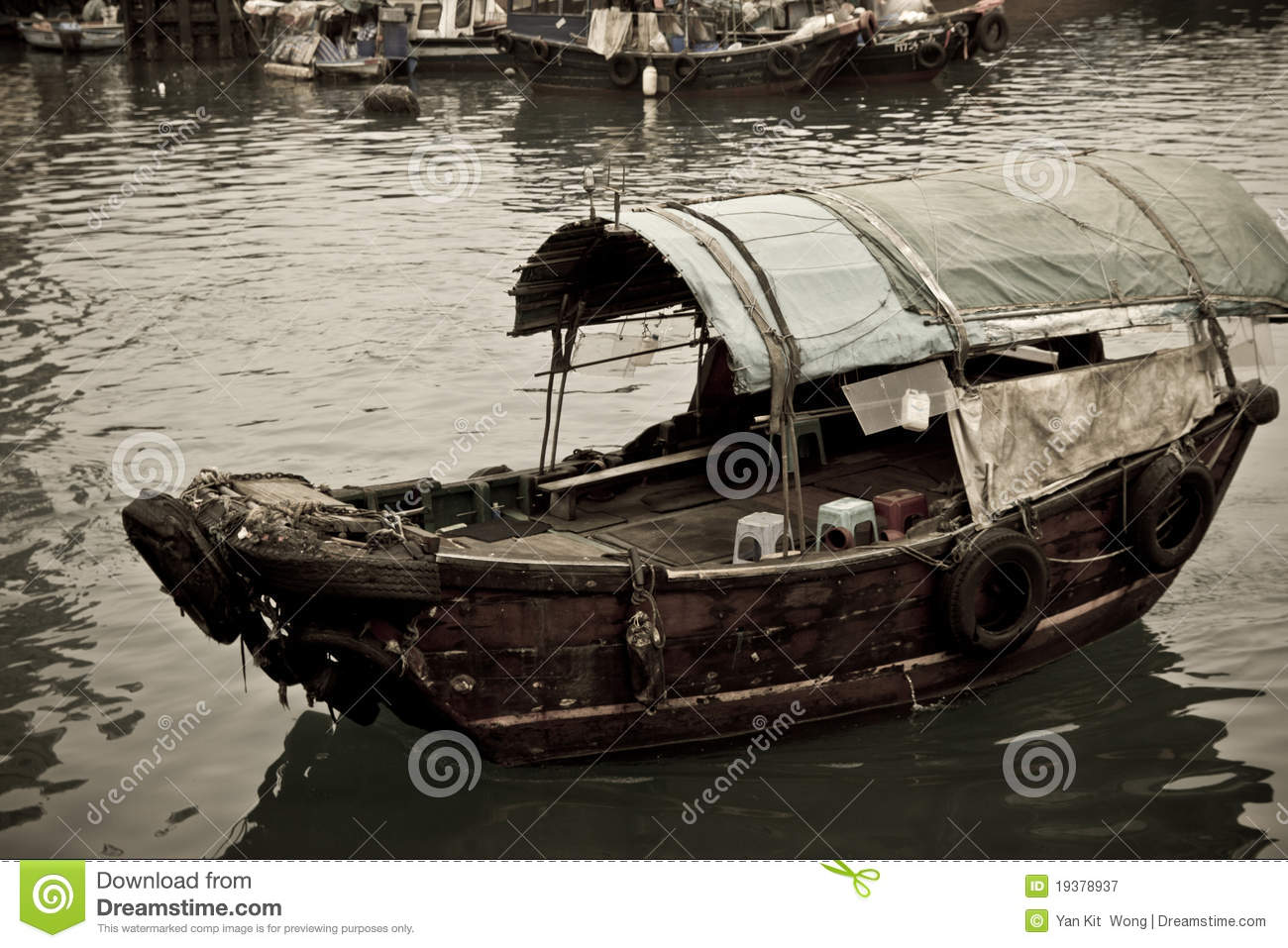A Sampan Boat Floating In The Sea Royalty Free Stock Photography - Image: 19378937