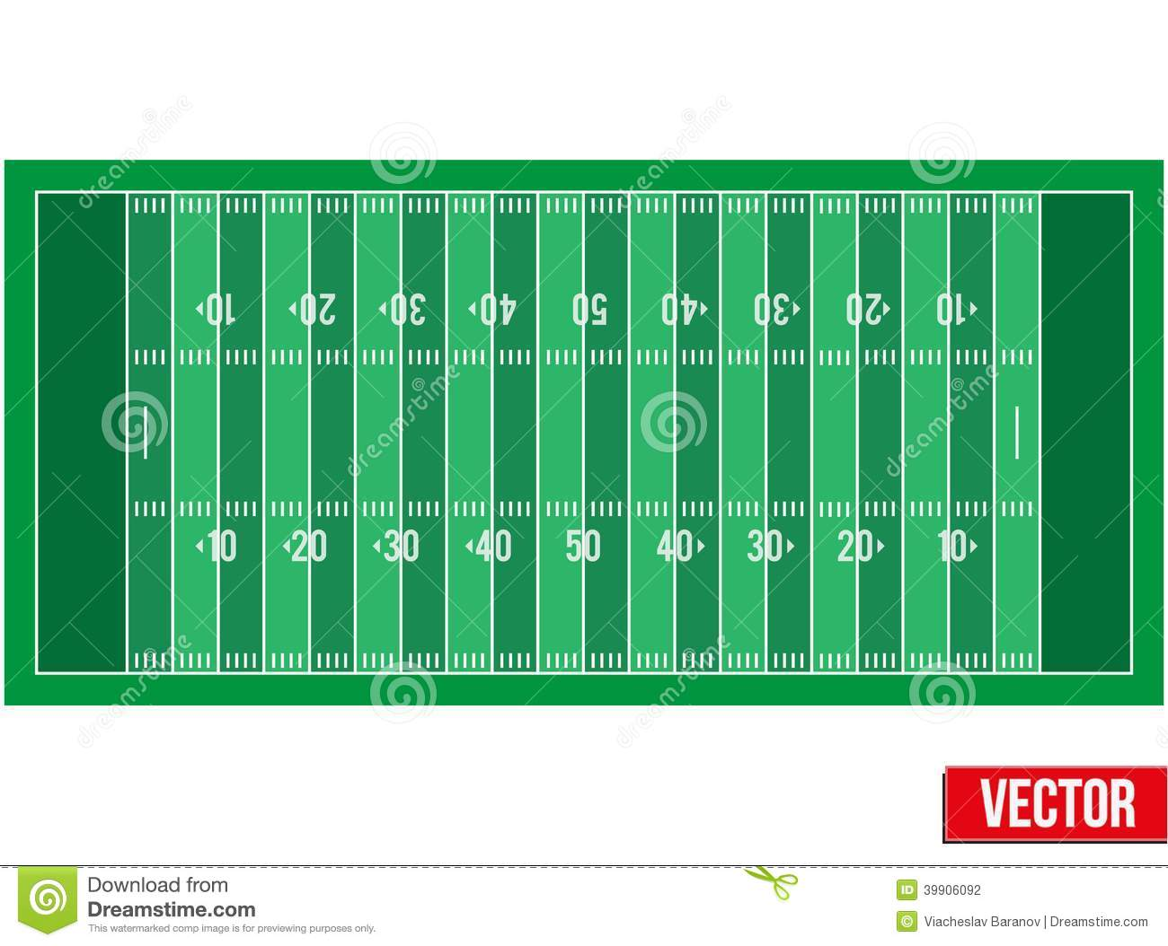 Sample Football Field In A Simple Outline Stock Vector