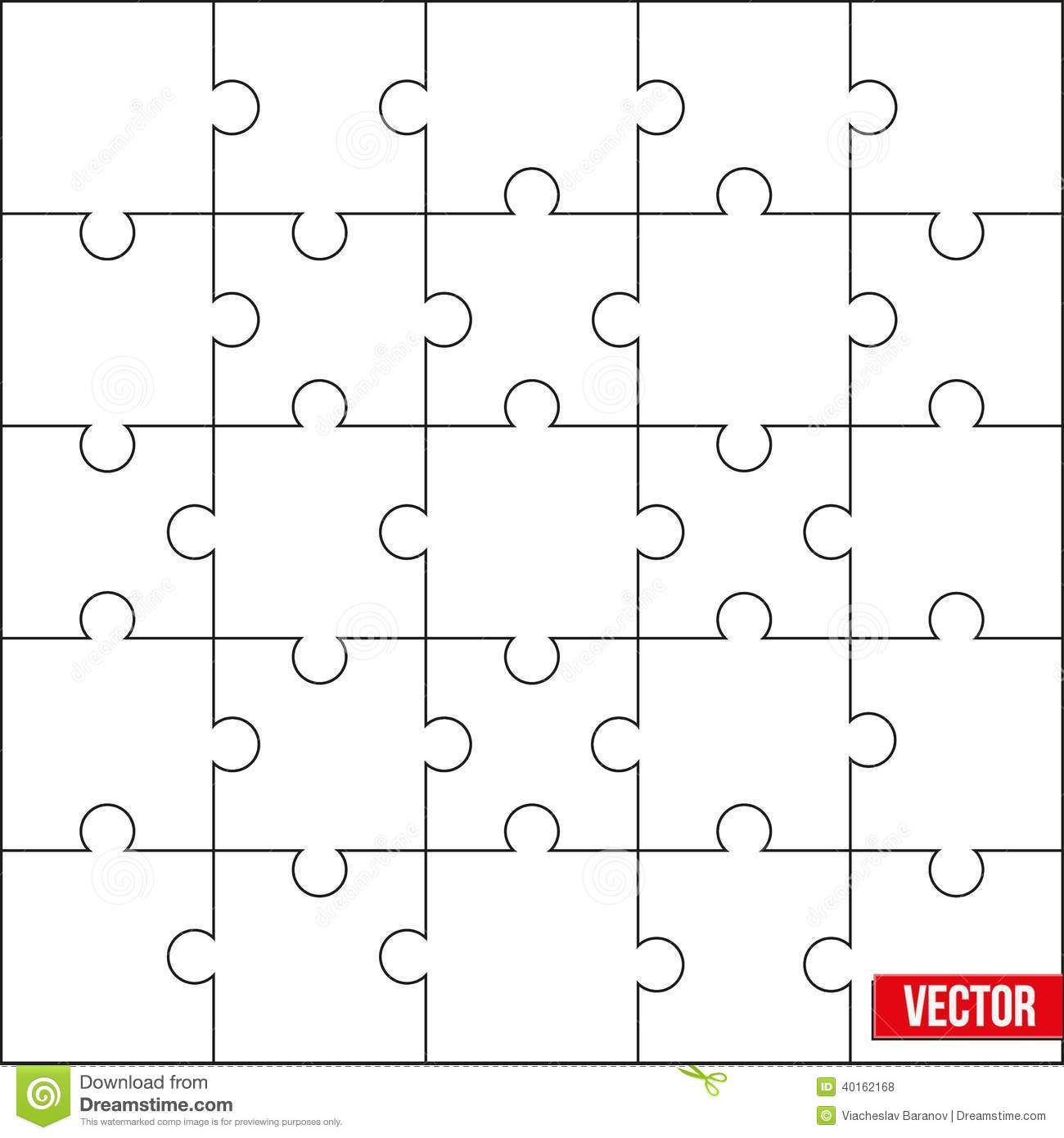 Sample Of Square Puzzle Blank Template Or Cutting Guidelines. Vector ...