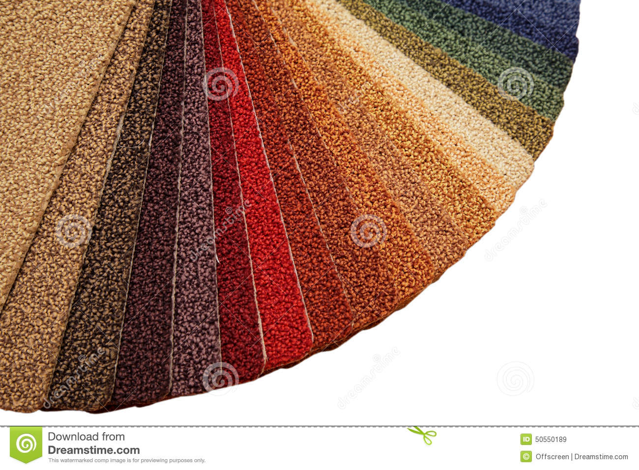 Samples of carpet covering