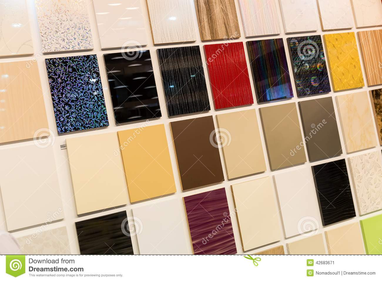 Samples Of A Ceramic Tile In Shop Stock Image - Image: 42683671