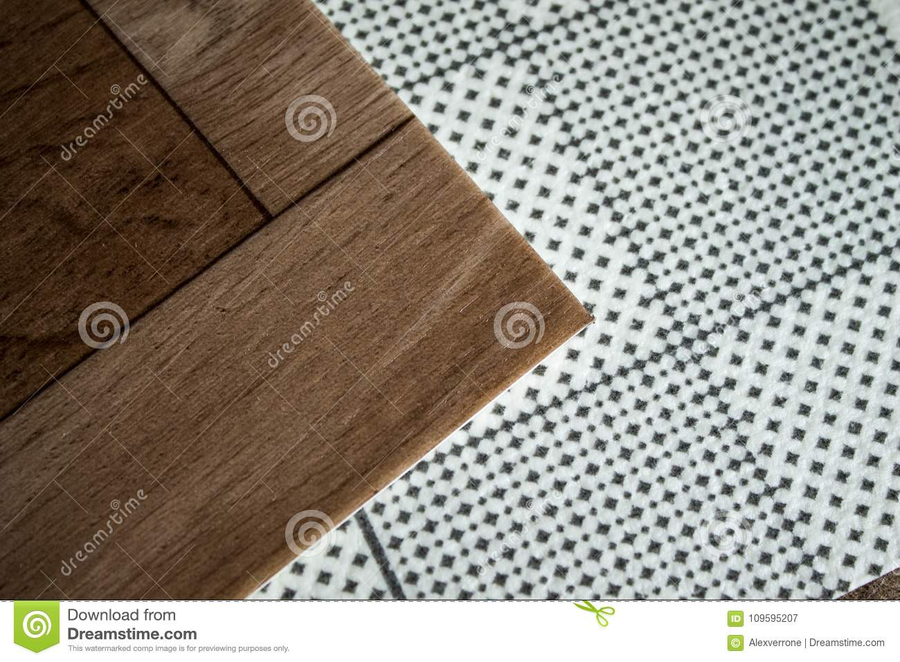 Samples Of Linoleum Cutting And Laying Of Floor Coverings Stock