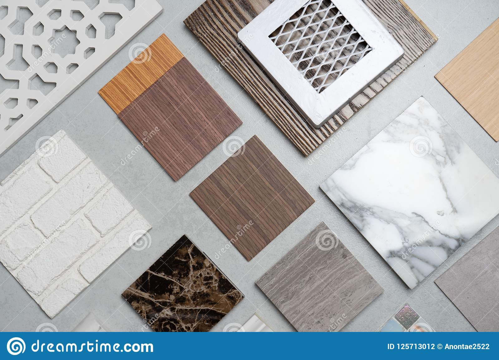 Samples of material wood on concrete table interior design se
