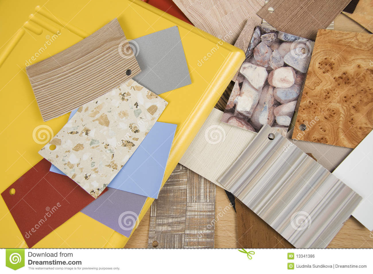 Samples of various texture royalty free stock image for Different interior design concepts