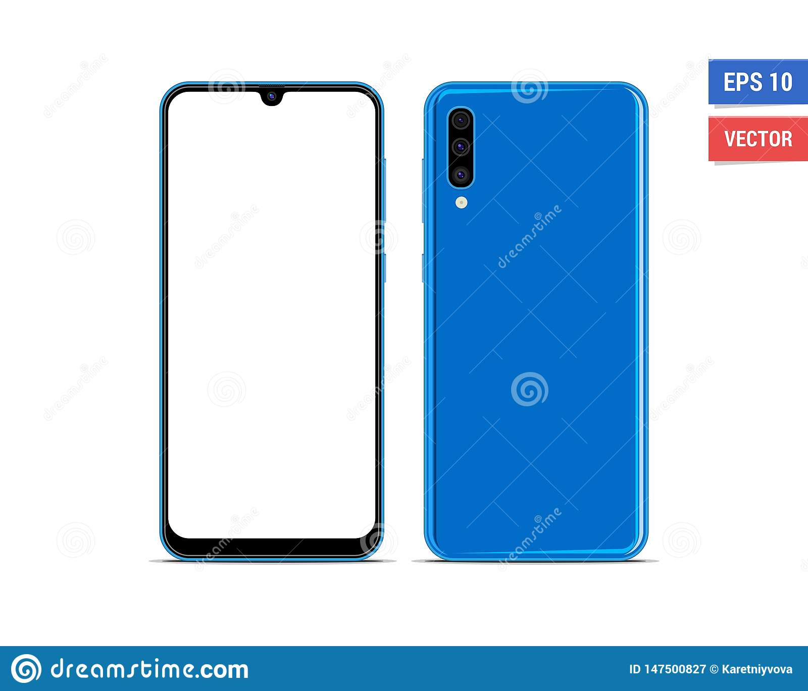 Realistic Vector Flat Mock Up Samsung Galaxy A50 With Blank Screen Isolated On White Background Scale Image Any Resolution Illustration De Vecteur Illustration Du Resolution Isolated 147500827