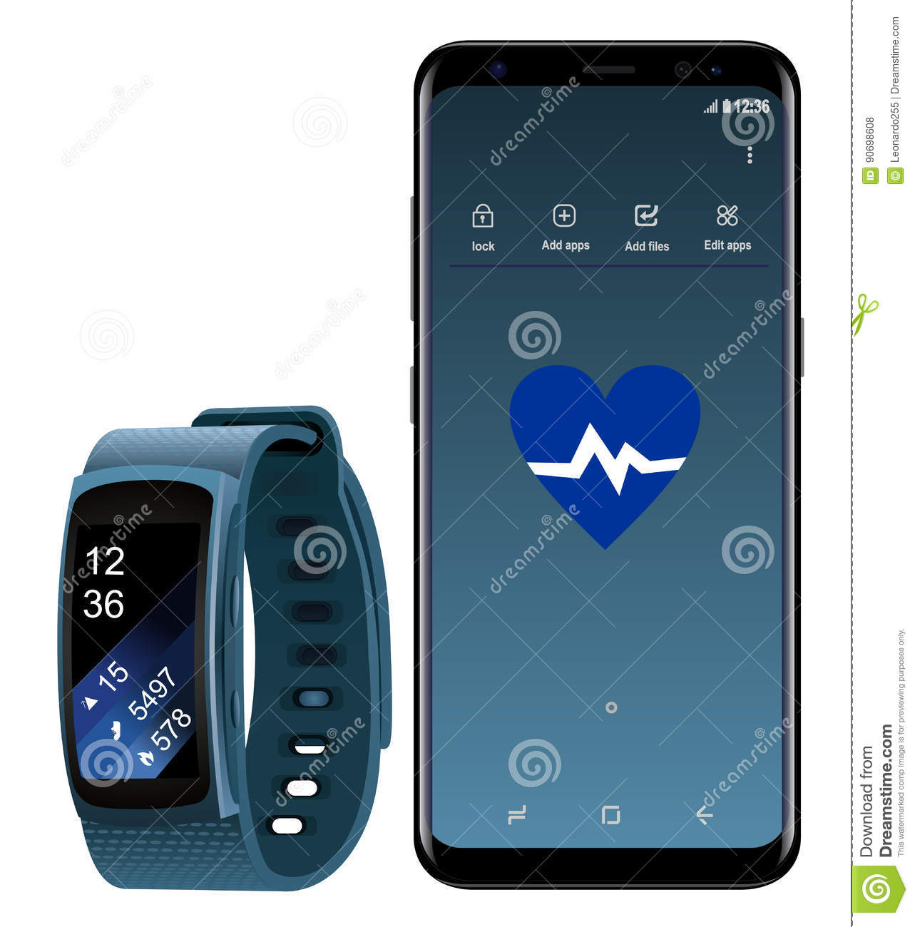 Samsung Galaxy S8 And Smartwatch Gear Fit Editorial Stock
