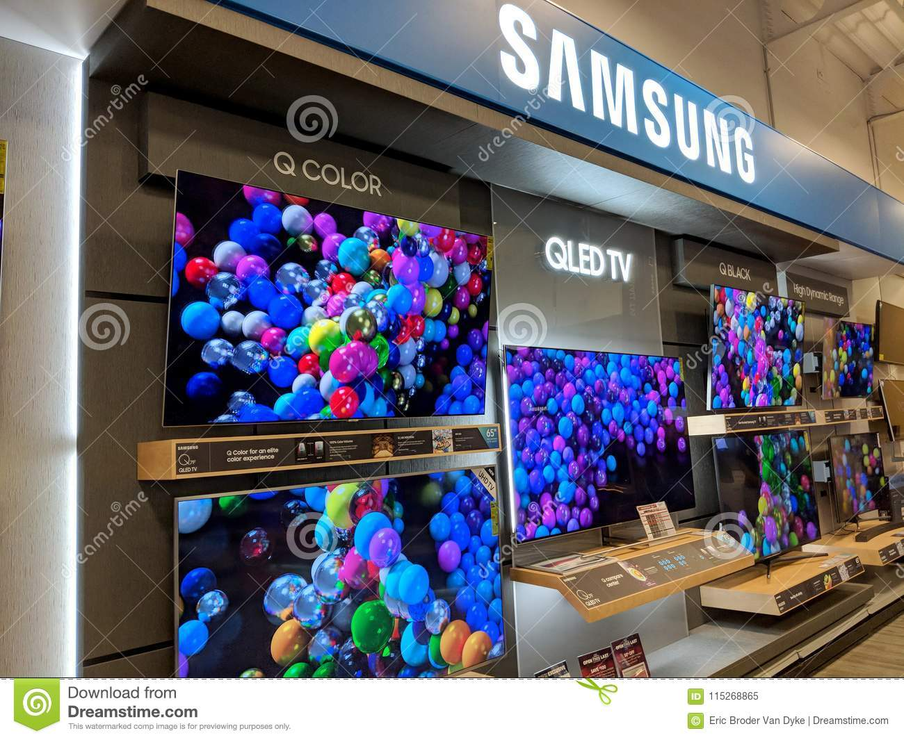 Samsung Logo And TV Display Inside Best Buy Store Editorial
