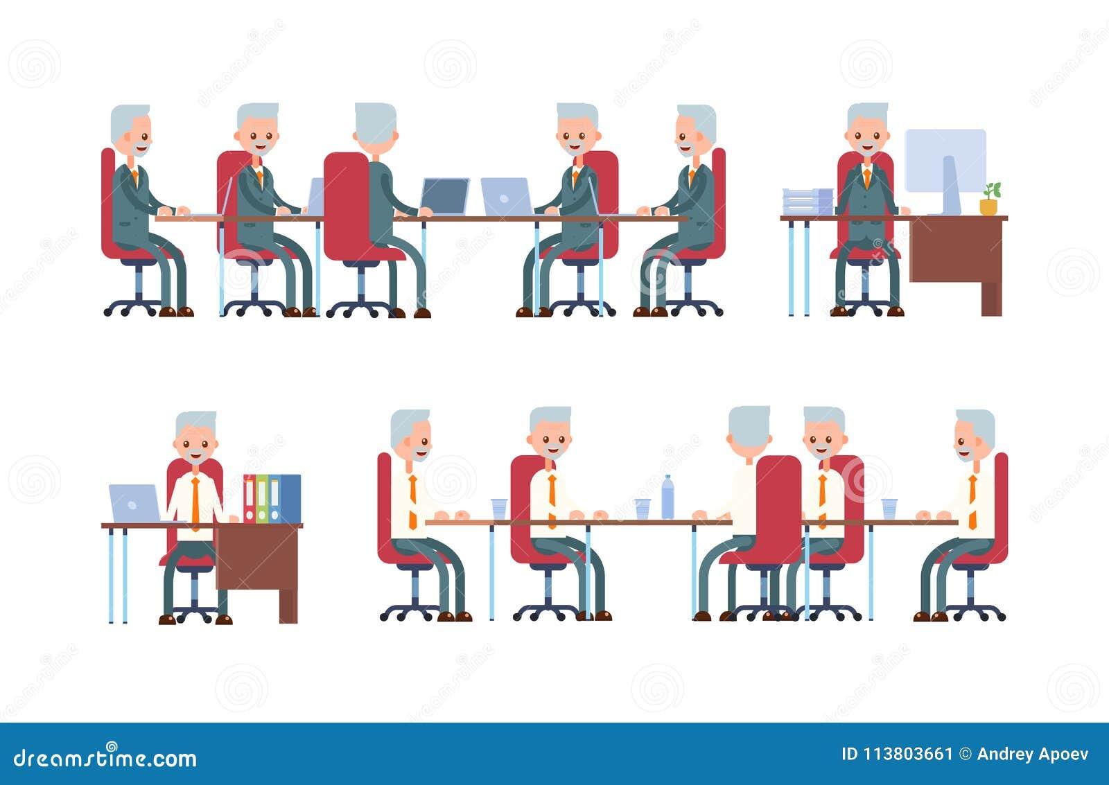 Samtal för möte för bärbar dator för skrivbord för affärsaffärsmancmputer le till att använda kvinnan göra sig till, medan sitta