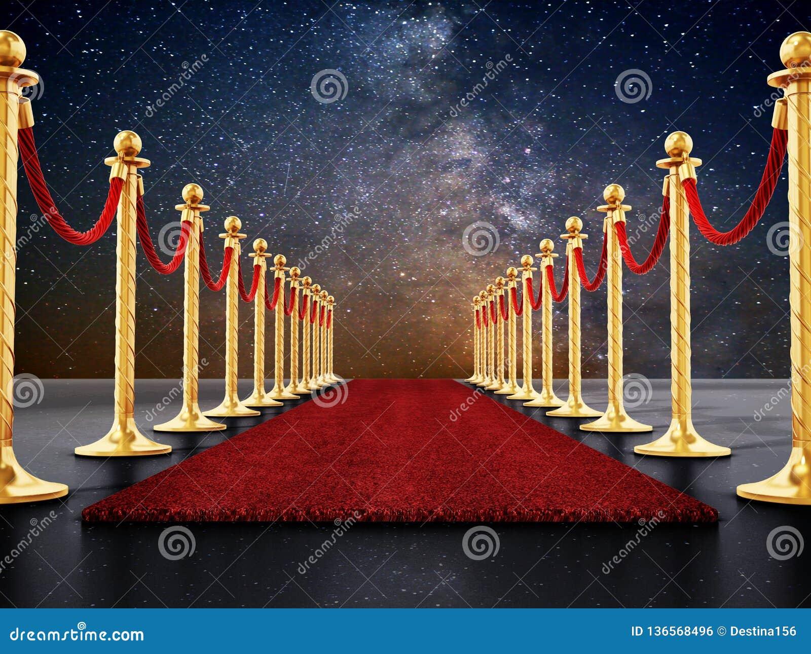 Samtfesseln und goldene Sperren entlang dem roten Teppich Abbildung 3D
