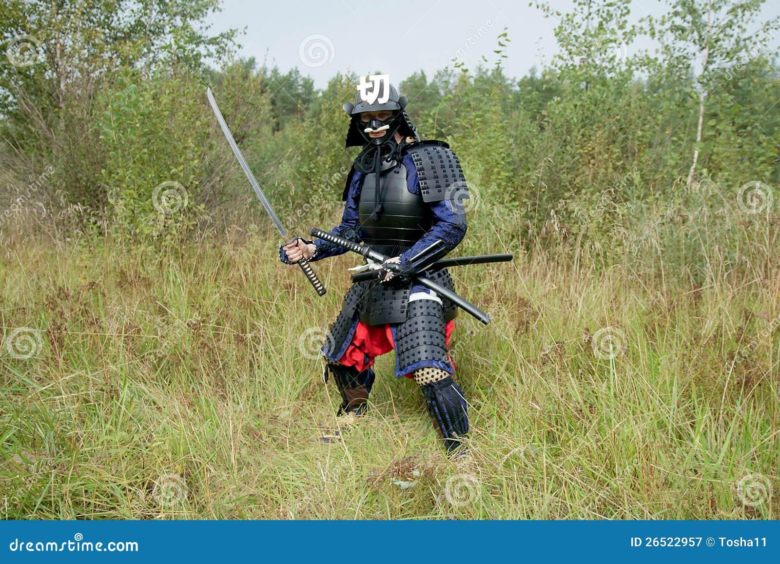 Samurai com as espadas
