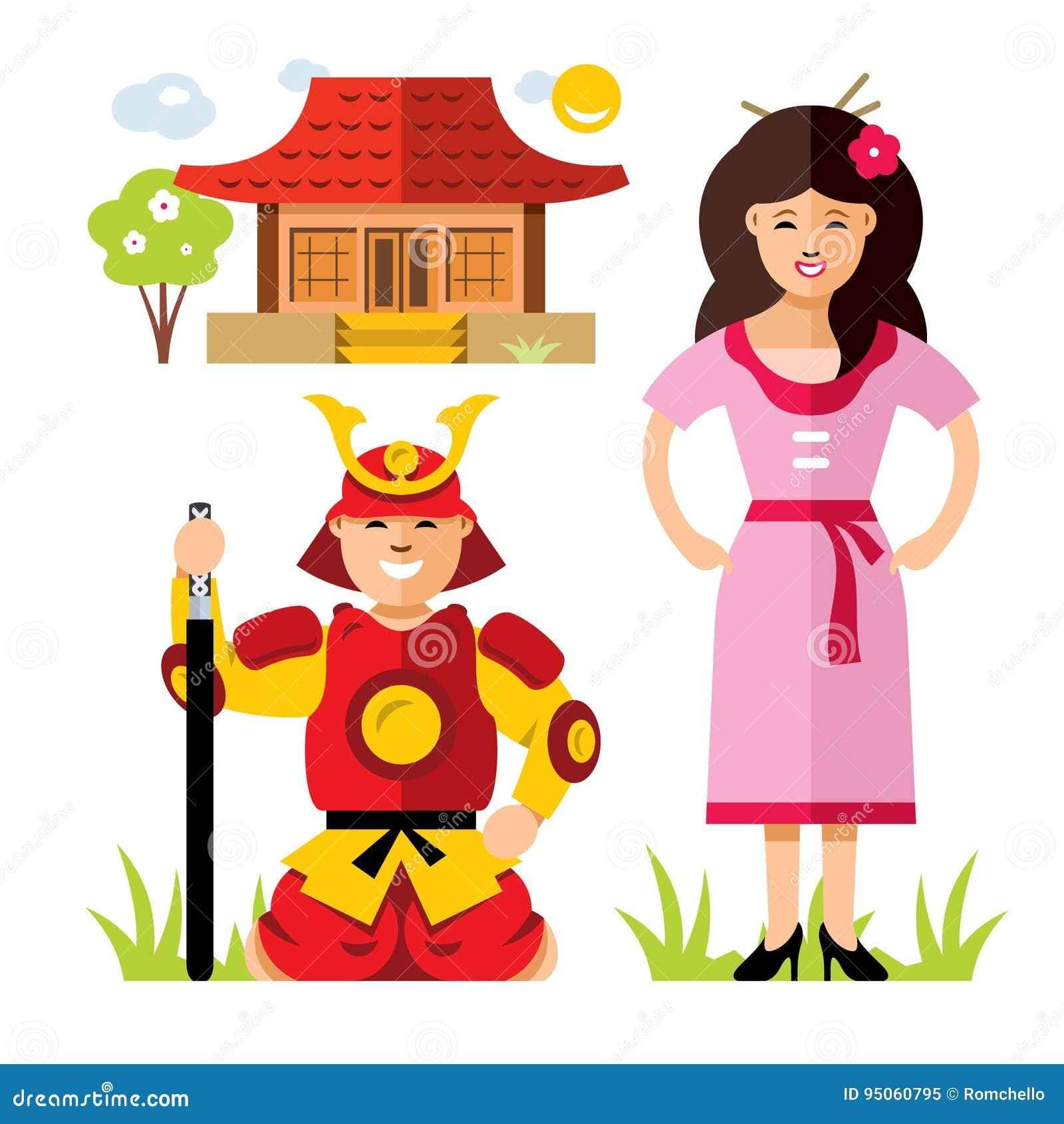 Samurai De Japao Do Vetor Ilustracao Colorida Dos Desenhos