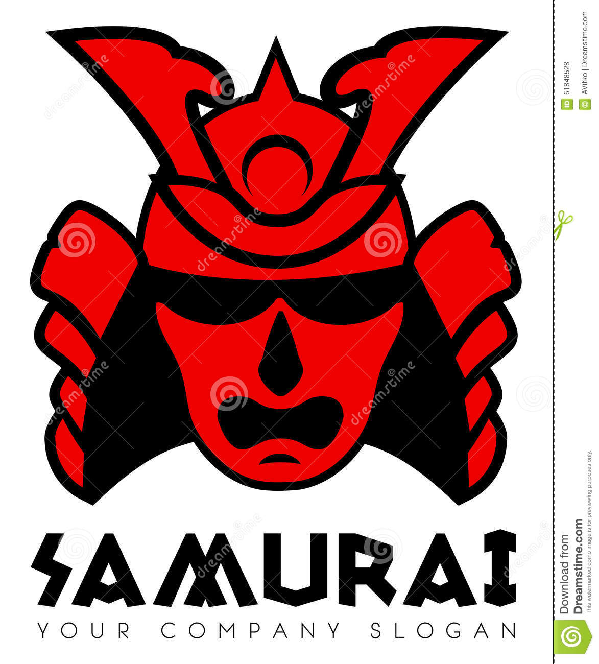 Samurai Face Mask Logo Stock Vector - Image: 61848528