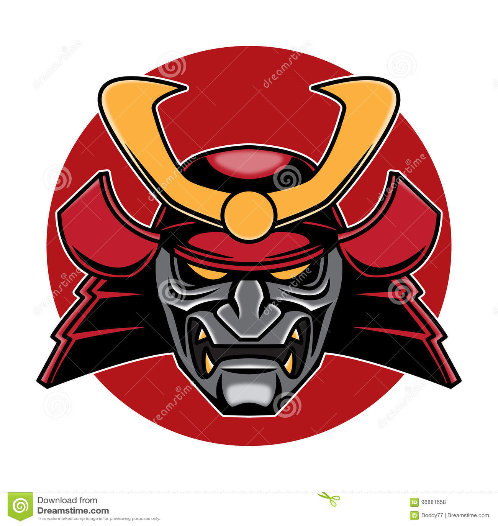 Samurai Head Logo Illustration Stock Of Sticker X