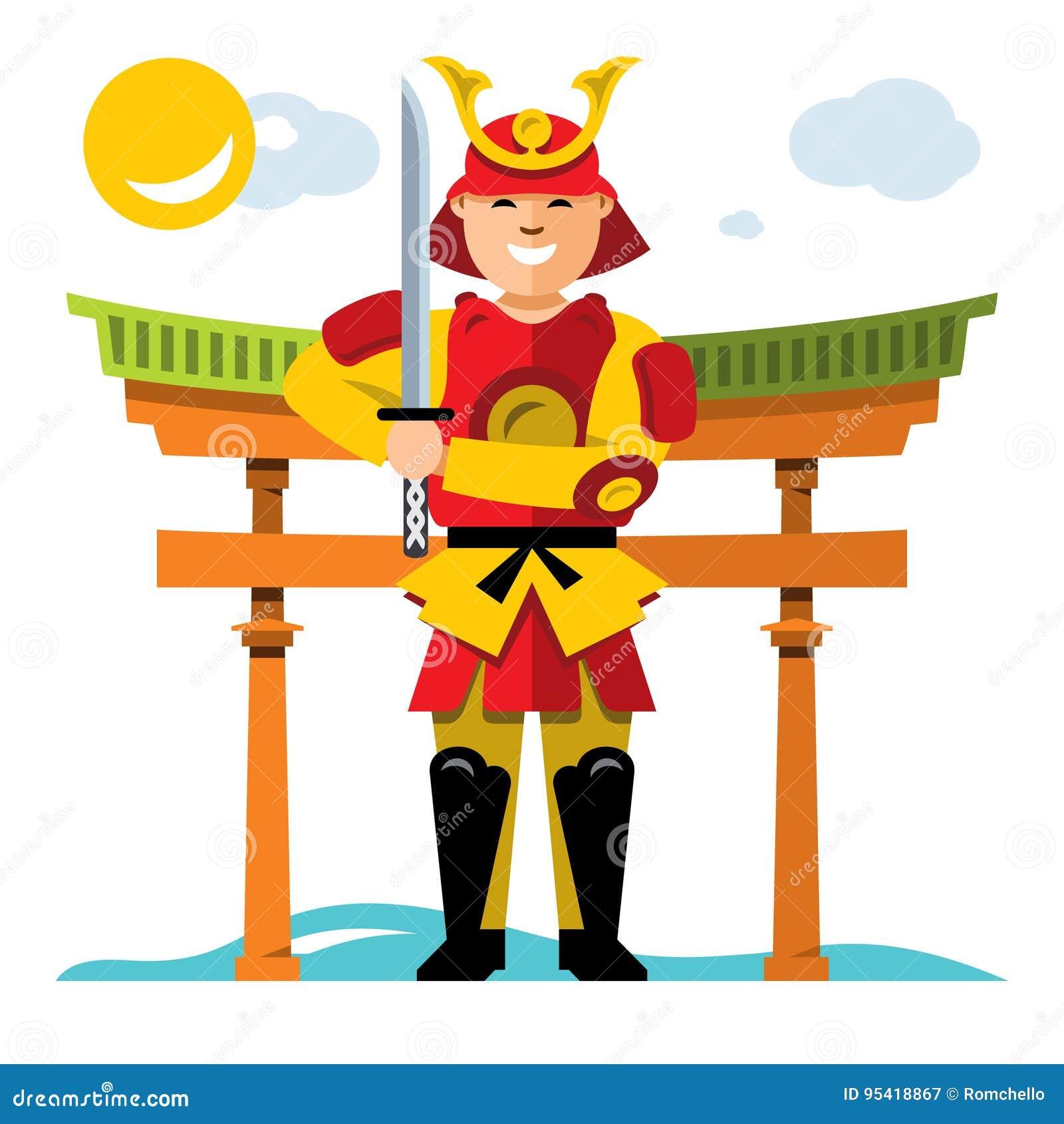 Samurai Japao Do Vetor Ilustracao Colorida Dos Desenhos Animados