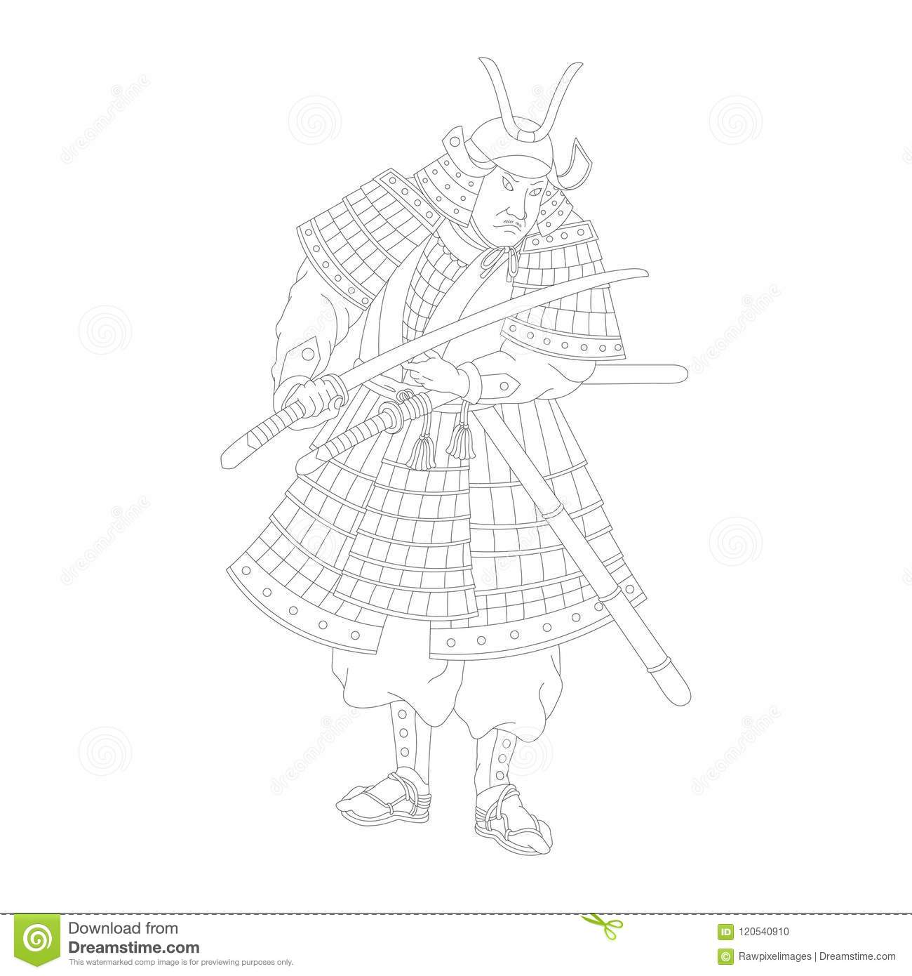 Samurai Japanese Warrior Adult Coloring Page Stock Vector Illustration Of Pattern Detailed 120540910