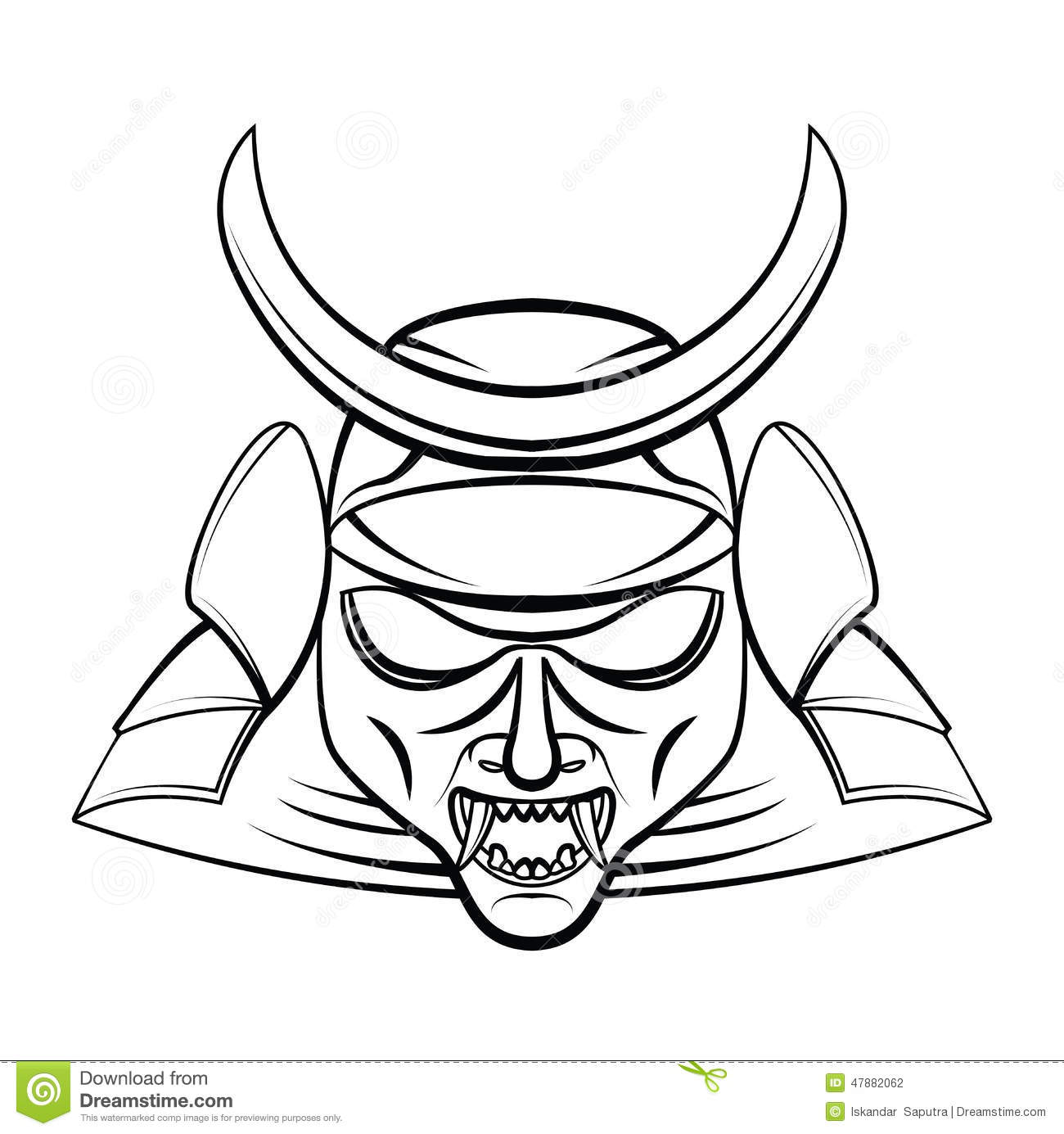 samurai coloring pages - samurai mask stock vector illustration of head helmet