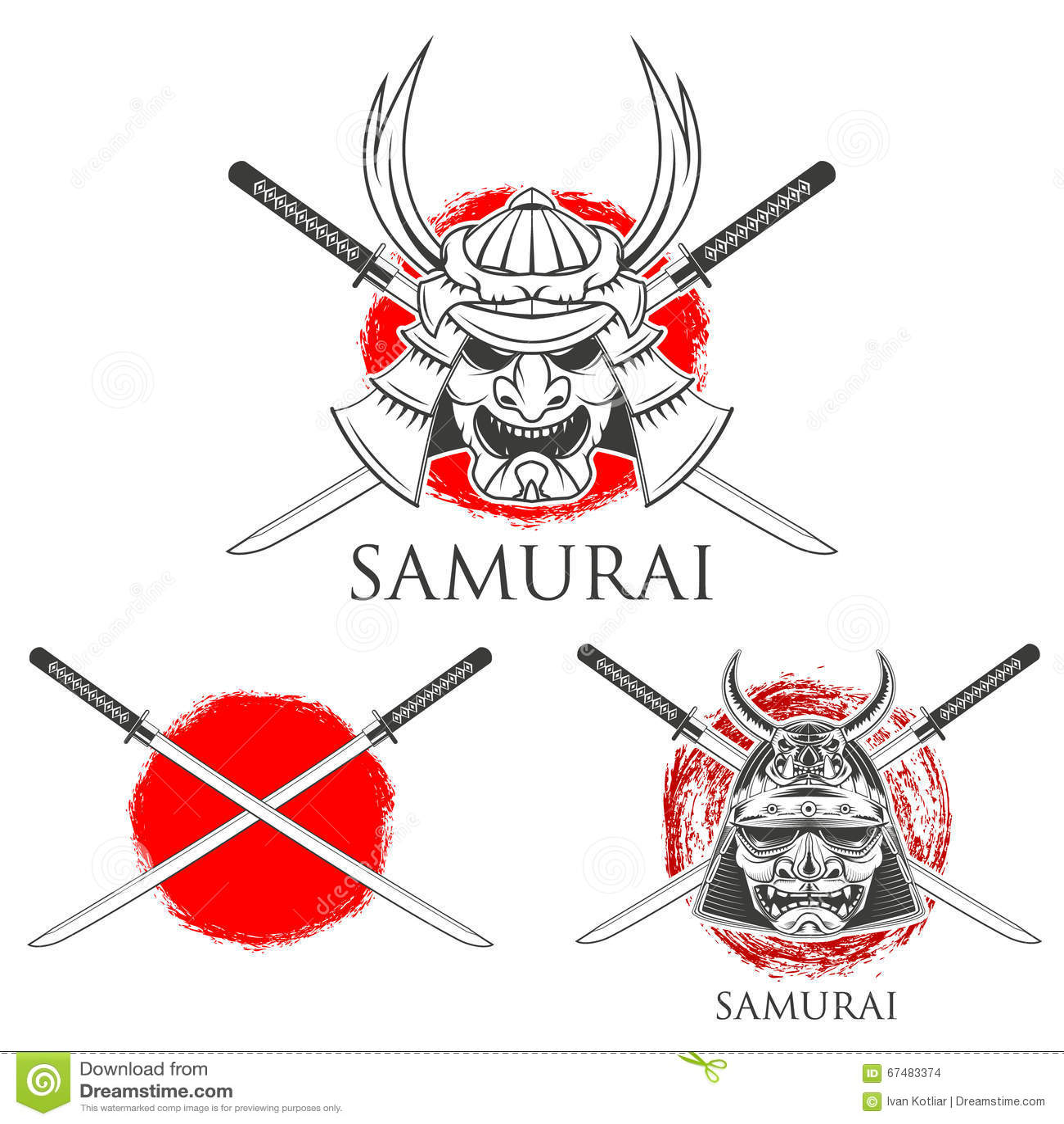 Samurai Mask Vector Design Elements Stock Vector