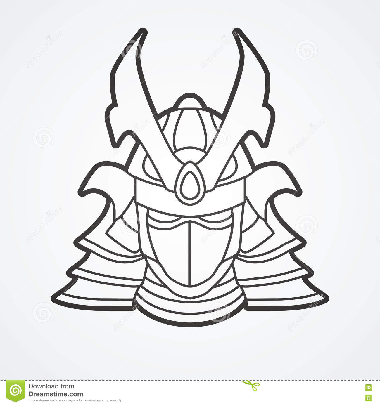 Samurai warrior mask stock vector. Image of military ...