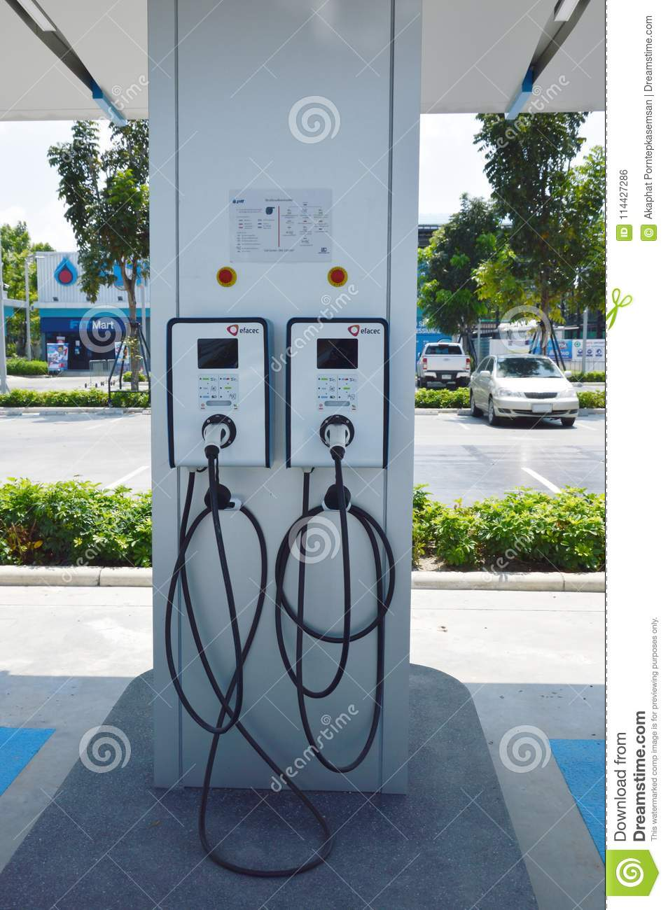 Electric vehicle charger in gas station for supporting electrical car in future