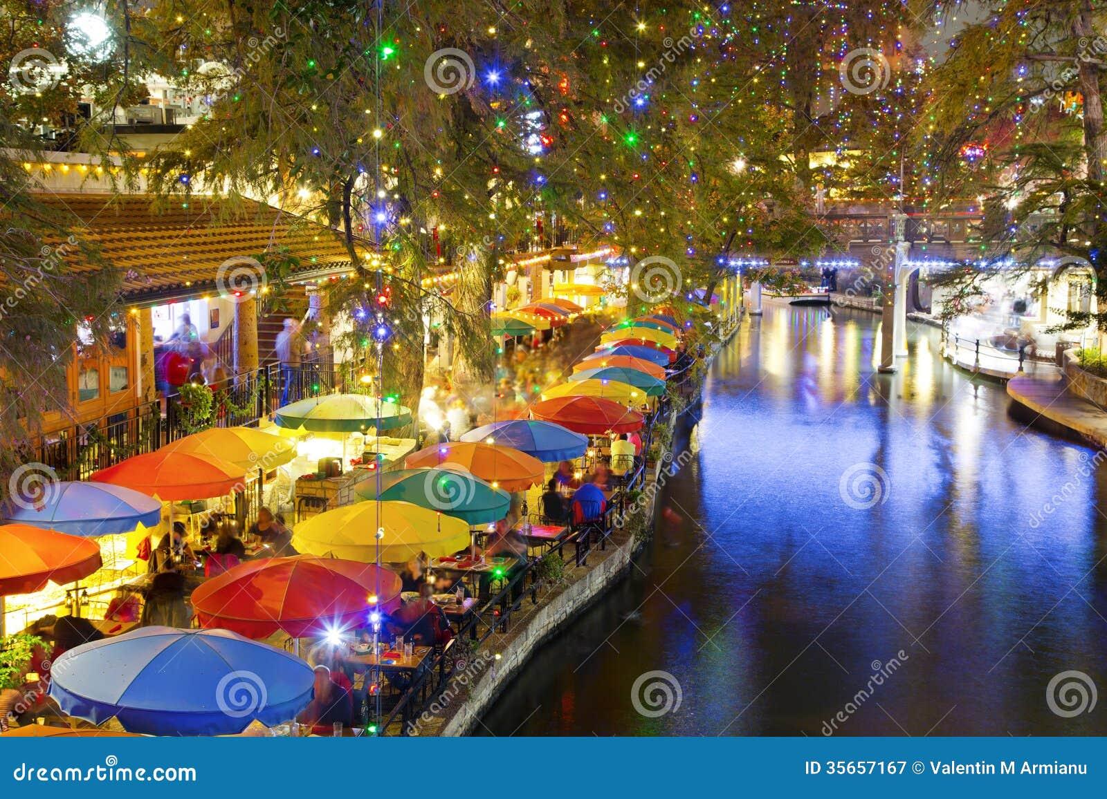San Antonio Riverwalk Christmas.San Antonio Riverwalk At Night Stock Image Image Of Tables