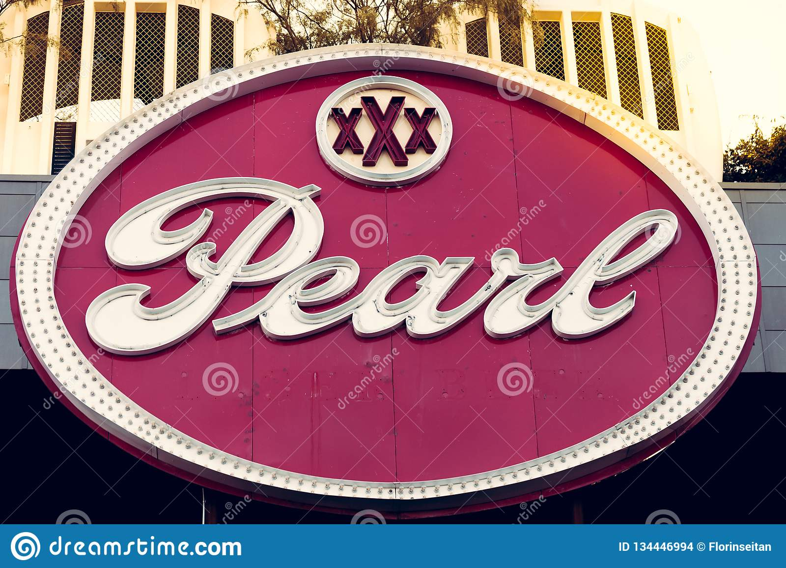 SAN ANTONIO, TEXAS, USA - NOVEMBER 2, 2018 - Close up of the Pearl District sign. The Pearl is a culinary and cultural destination