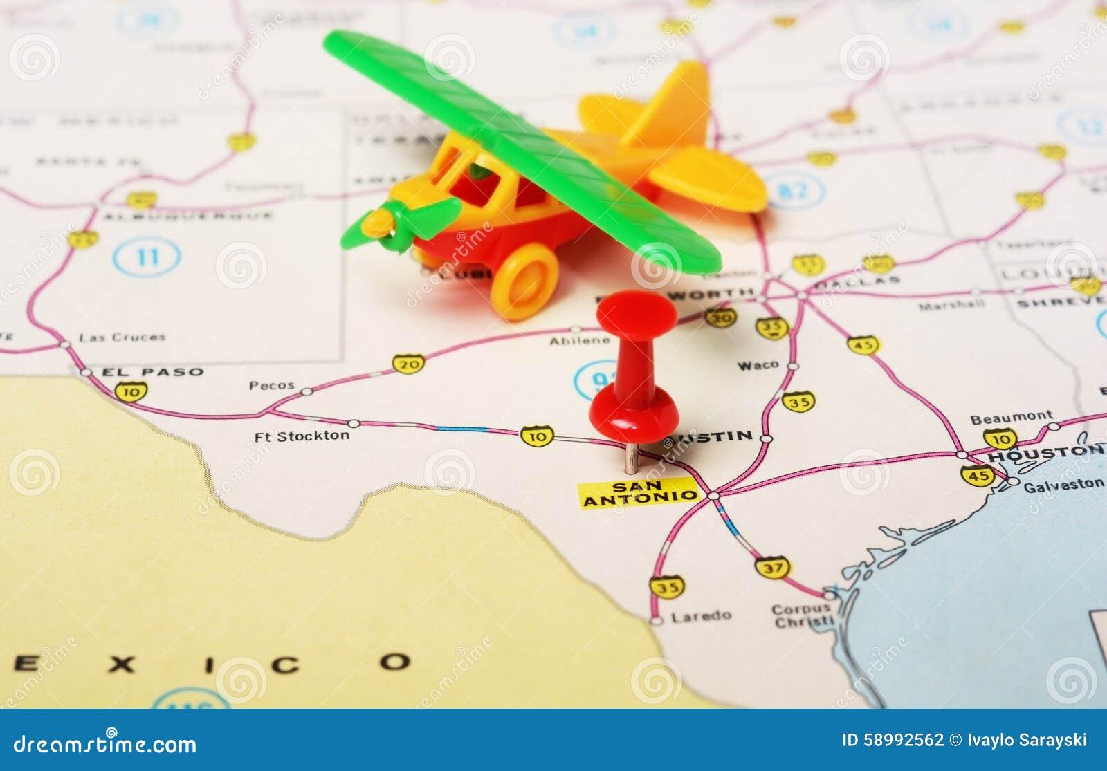San Antonio USA Map Airplane Stock Photo Image - San antonio us map
