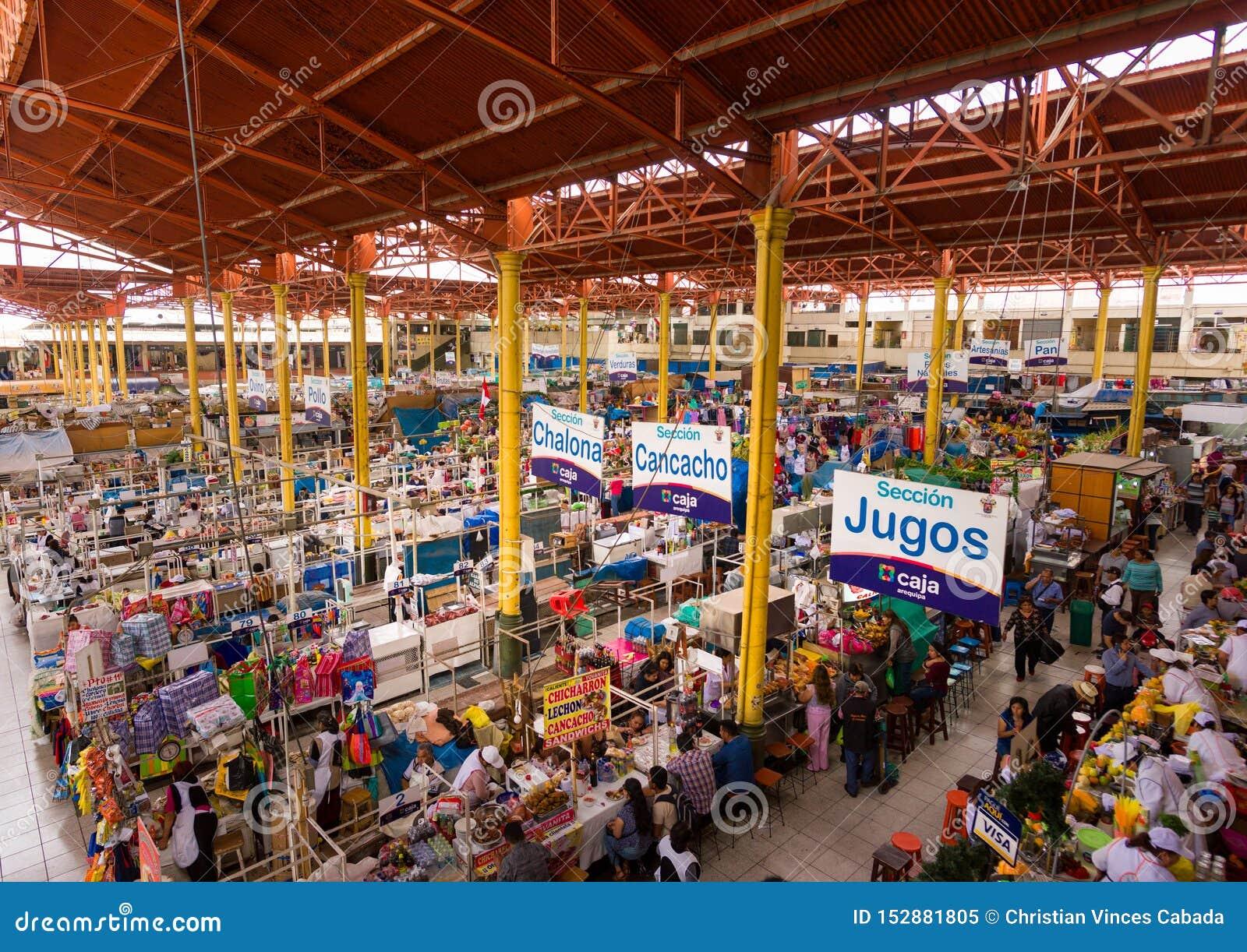 SAN CAMILO TRADITIONEEL OUD MARKET PLACE IN AREQUIPA, PERU