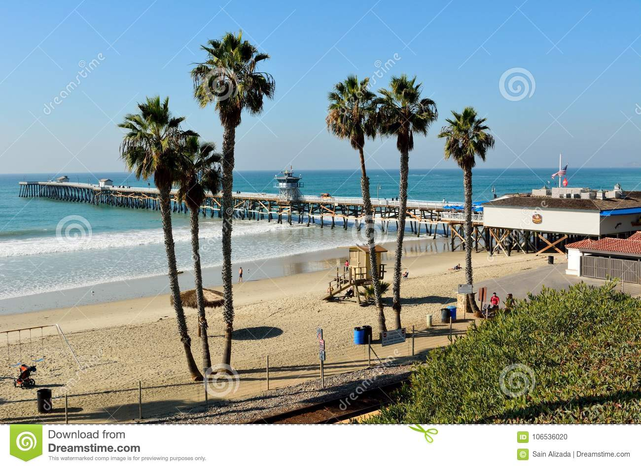 View of San Clemente pier and T-Street beach in San Clemente, Ca
