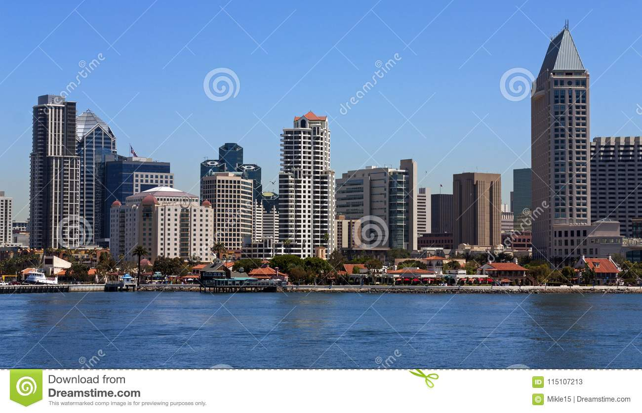San Diego Skyline Editorial Stock Photo Image Of Landmark