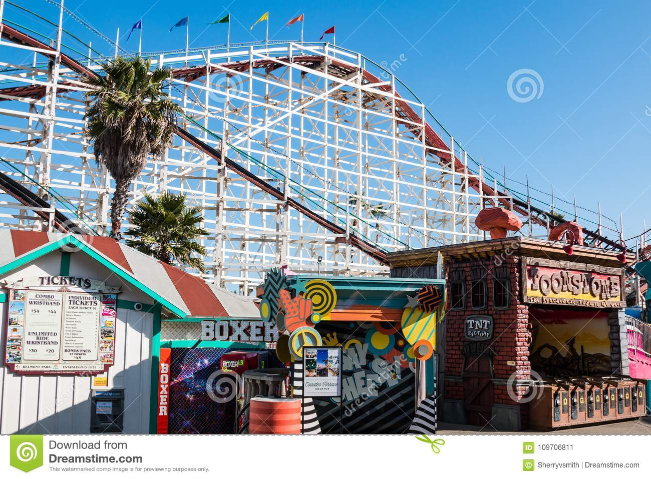 Midway Games And Ticket Booth At Belmont Park In San Diego