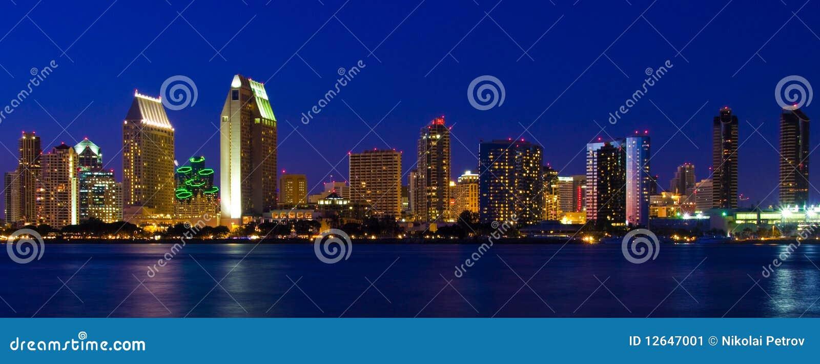 San Diego Downtown Harbor Coronado Bay Dusk Night