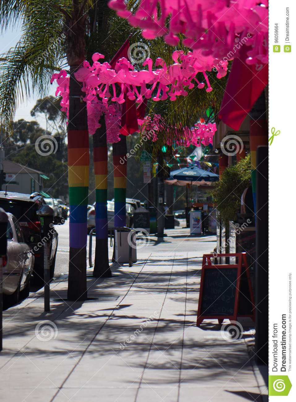 San Diego Hillcrest Gay Pride 2017 Decorations Rainbow Flags On