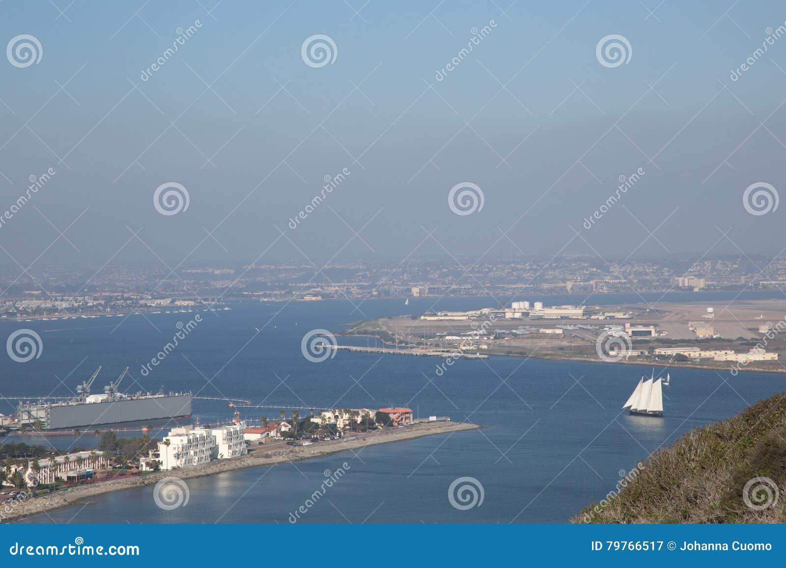San Diego i Morska baza powietrzna od point loma w Kalifornia