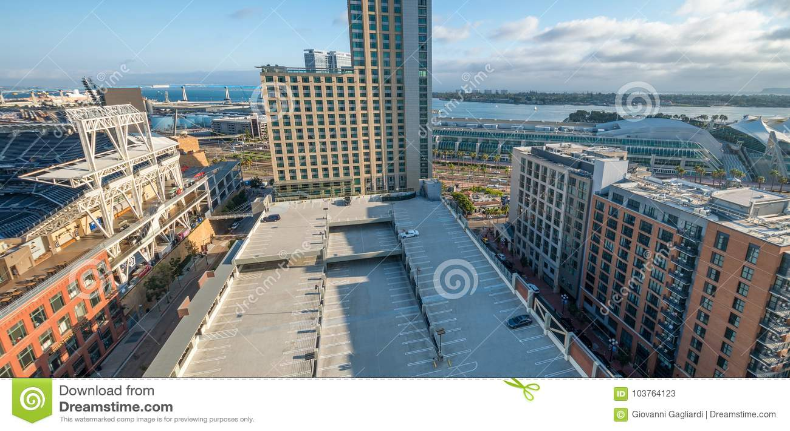 SAN DIEGO - JULY 29, 2017: Modern city skyline. San Diego attracts 20 million people annually