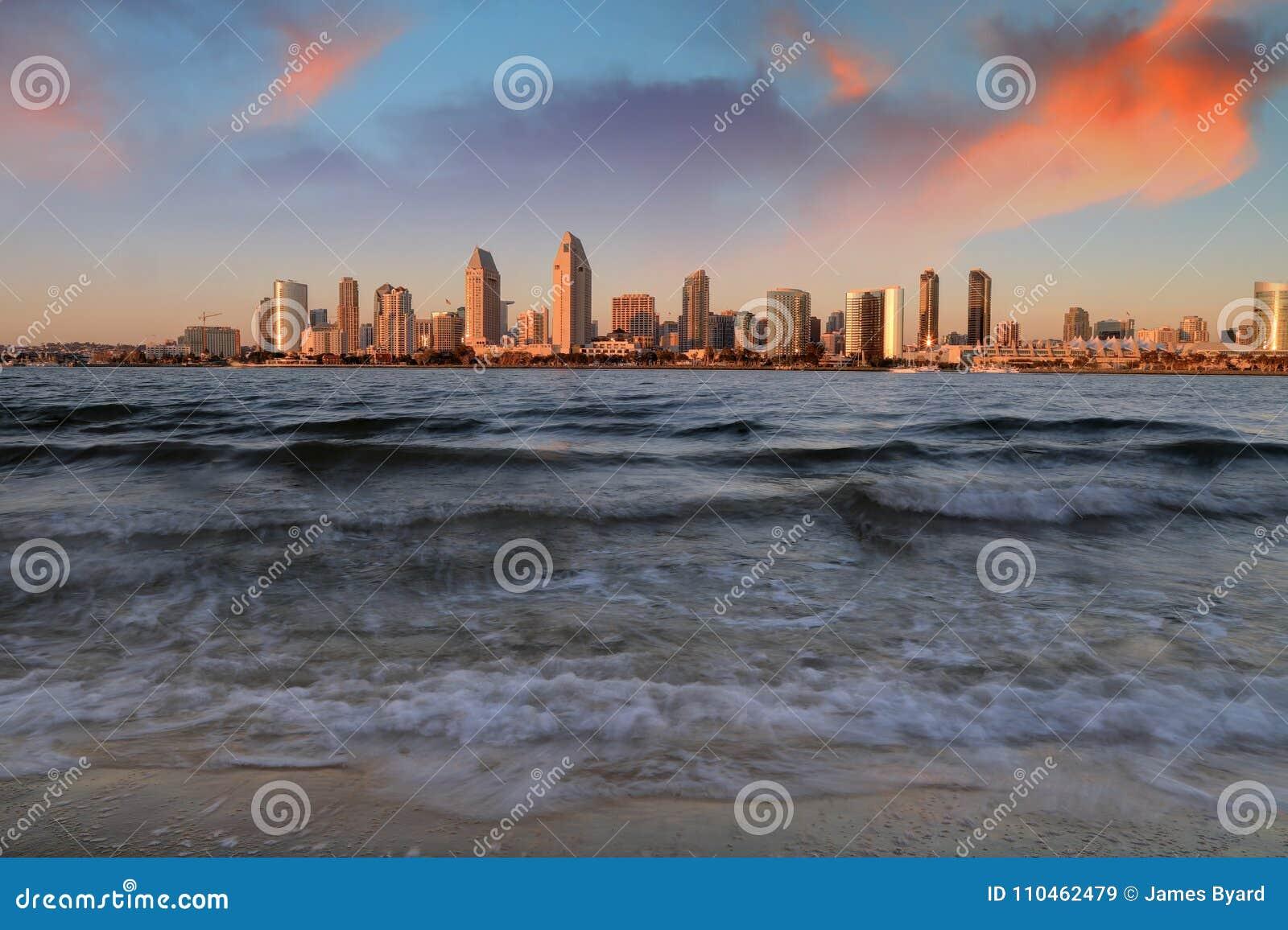 San Diego Kalifornien horisont från den Coronado ön