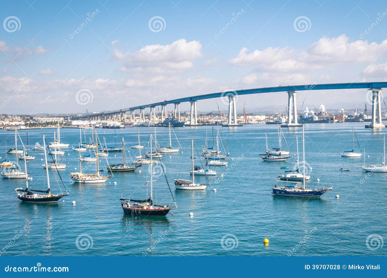 San Diego nabrzeże z żeglowanie łodziami
