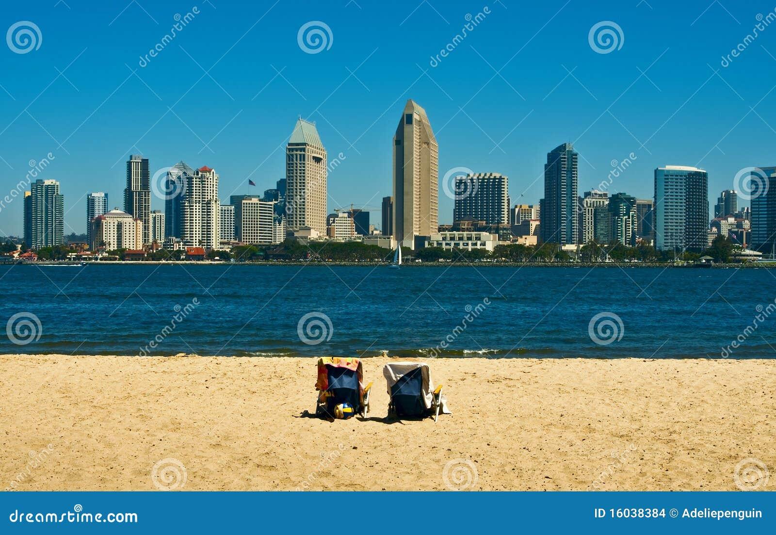 San Diego Skyline and Beach, California