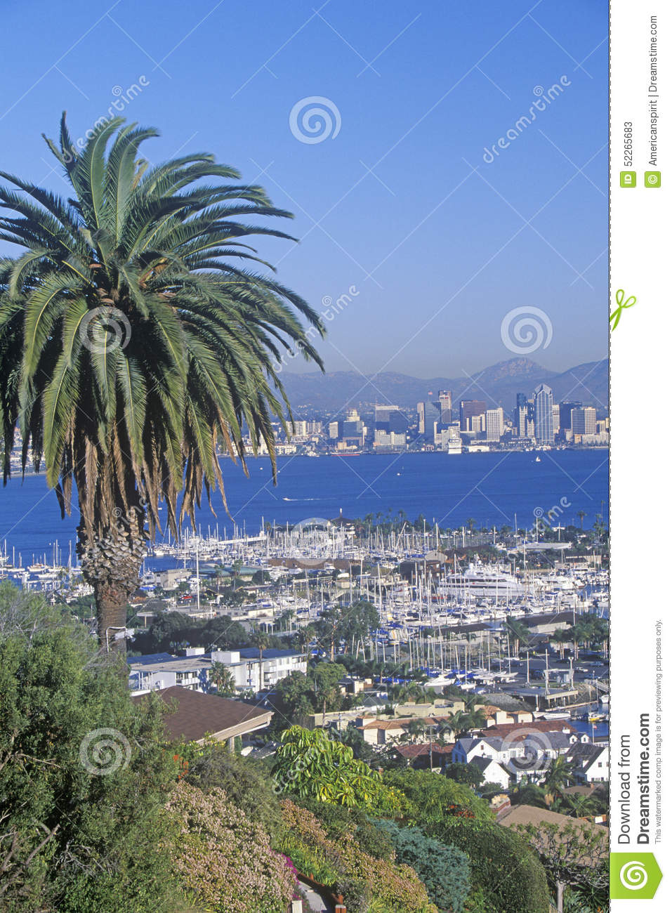 San Diego skyline and harbor, view from Shelter Island, San Diego, California
