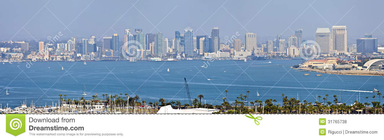 san diego skyline panorama from point loma island california royalty free stock photos image. Black Bedroom Furniture Sets. Home Design Ideas