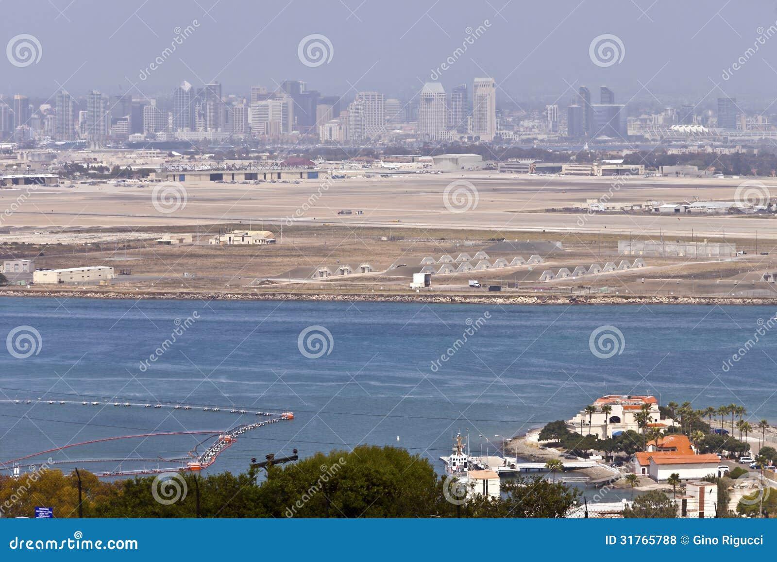San Diego skyline from Point Loma island California.