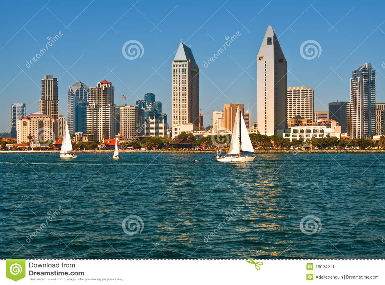 San Diego Skyline with Sailboats, California