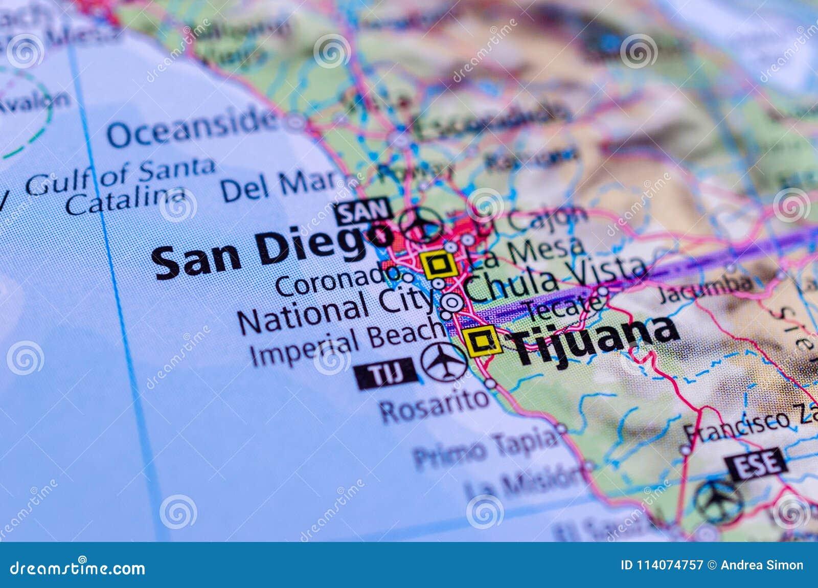 San Diego Und Tijuana Auf Karte Stockbild Bild Von Stadte