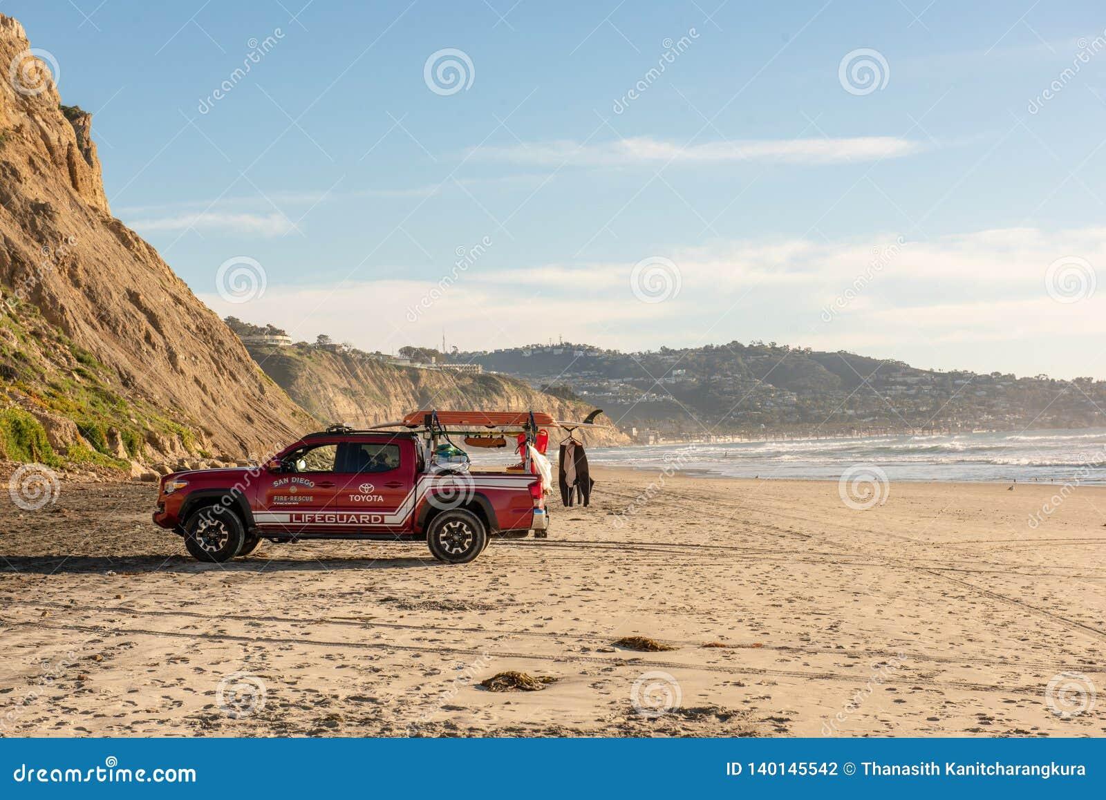SAN DIEGO, USA - FEB 20 2019: Toyata vehicle lifeguard at Black`s Beach in San Diego, California