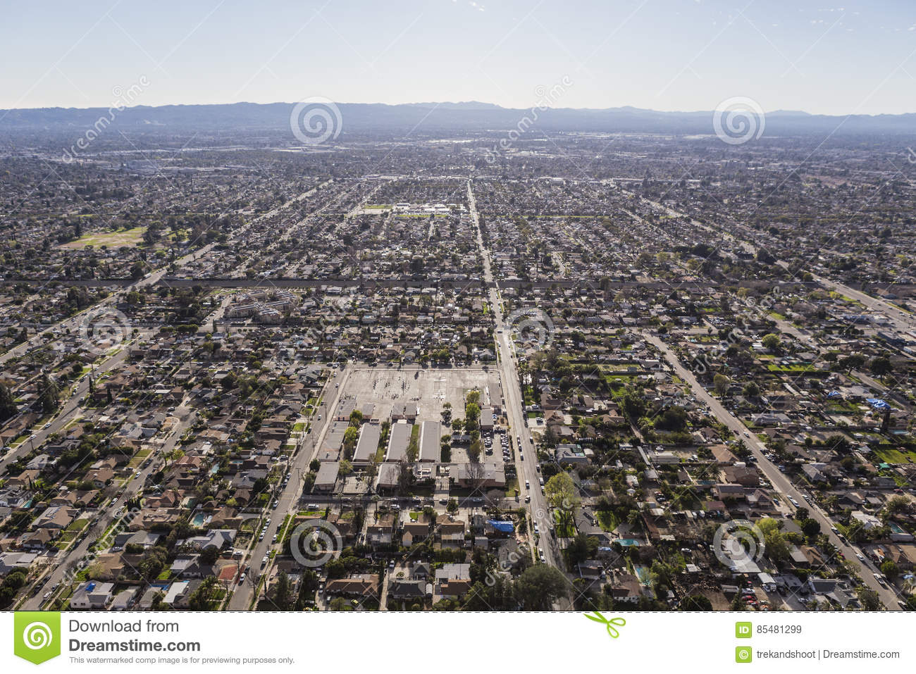 San Fernando Valley Afternoon Haze Aerial Stock Image Image Of