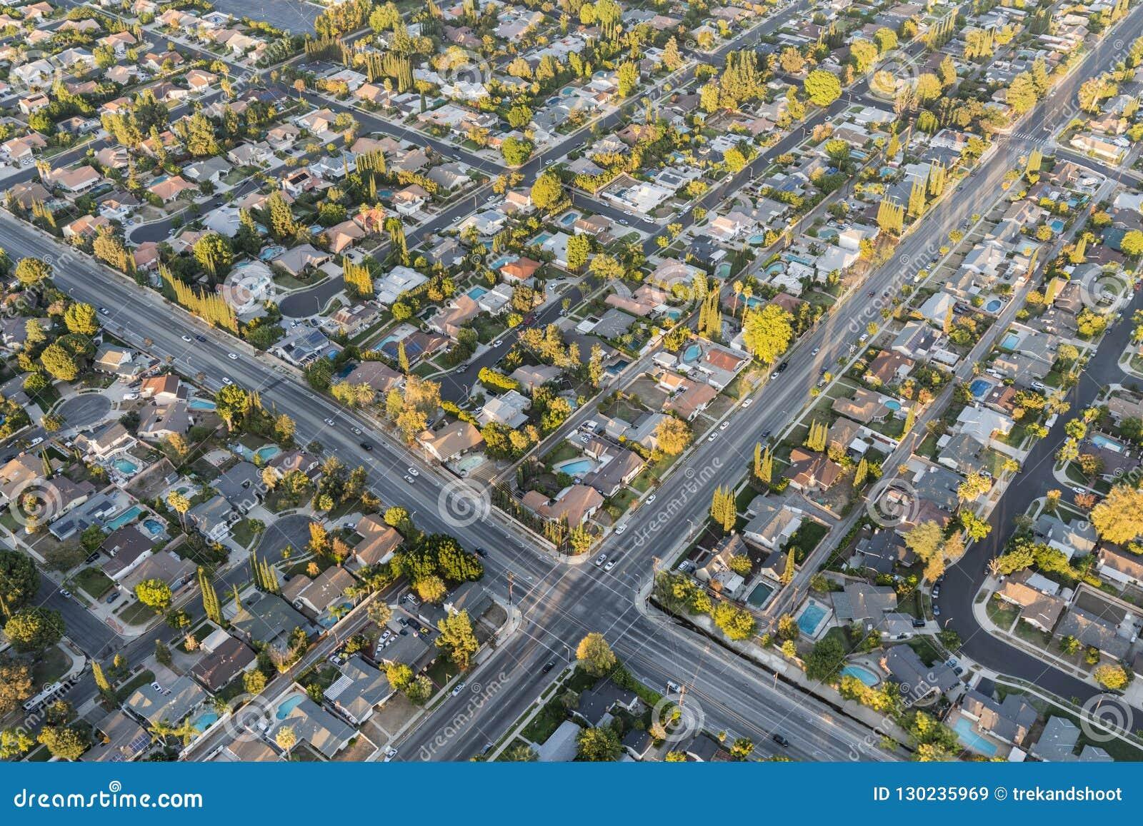 San Fernando Valley Homes Los Angeles California Aerial
