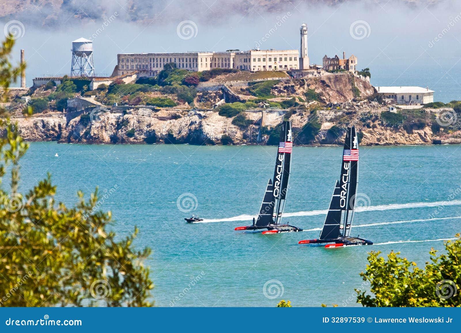 San Francisco America's Cup Team Oracle Passing Alcatraz