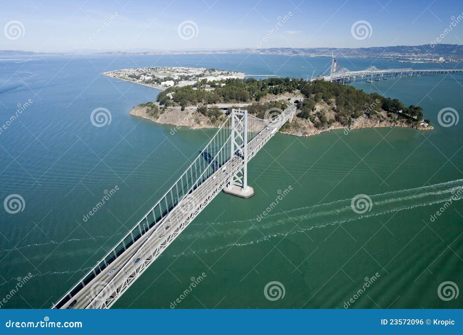 San Francisco Bay Bridge Aerial View Royalty